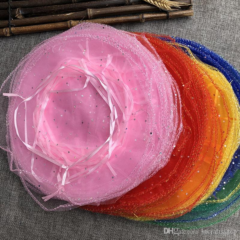 100 stücke 26 cm Runde Kordelzug Organza Schmuck Süßigkeiten Geschenk Tasche Weihnachten Hochzeit Party Favor Sachet Geschenk Verpackung Taschen