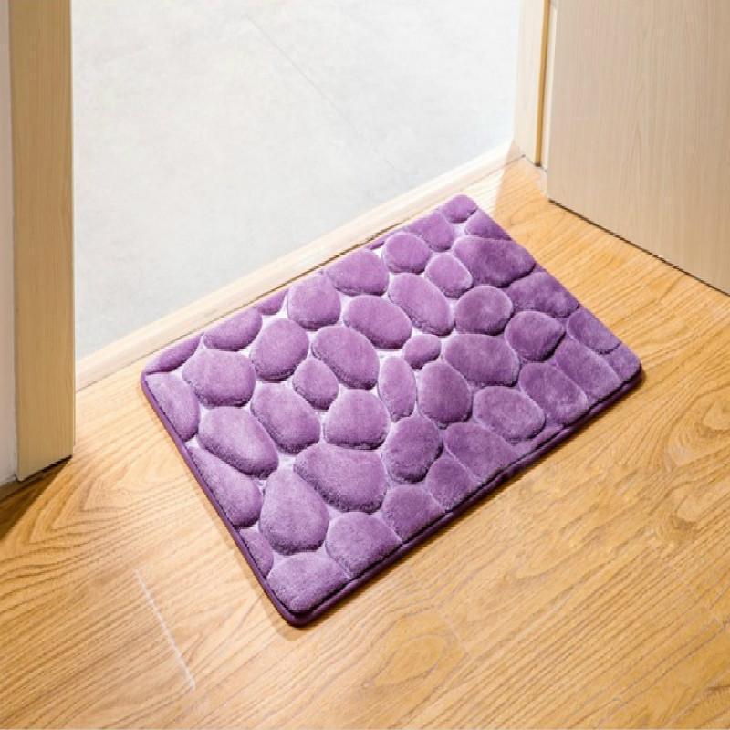 Tapis De Bain Bath Mat Polyester PVC Black Purple 40 x 60 cm Home Bathroom New