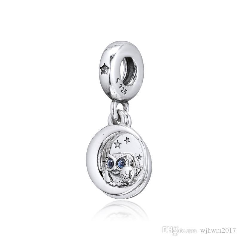 Novo 100% real prata esterlina 925 Bead único Marca Charm Bracelet sempre ao seu Coruja Side Hanging perla o encanto por Mulheres presente DIY Jóias