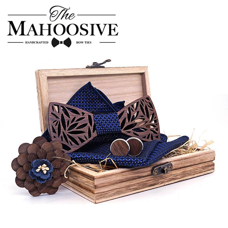 Conjunto de pañuelo de pajarita de madera de Paisley Set Hombre Plaid Bowtie Madera Hueco tallado cortado Diseño floral y Caja Moda Lazos de la novedad C19011001