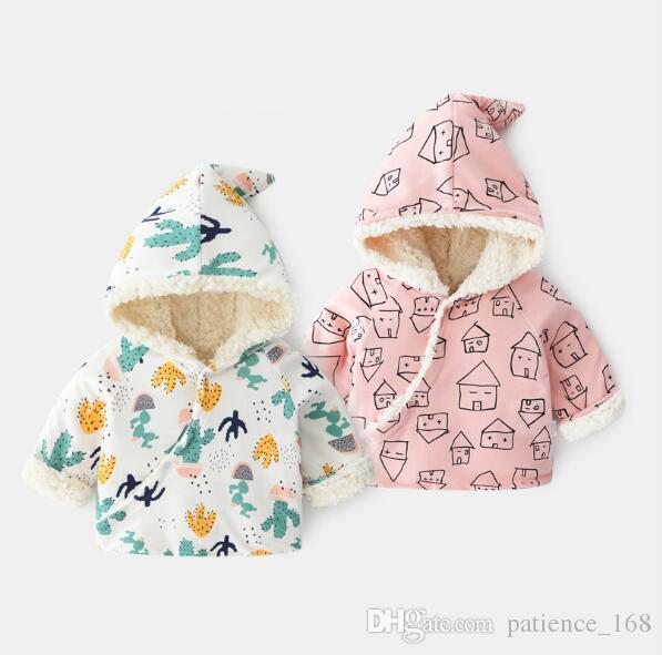 Yeni doğan Hoodies 2019 Ins Kış çocuklar kız erkek Hoodies Balina kaktüs baskı 100% pamuk çocuk kalın kaşmir sıcak Hoodies Tişörtü