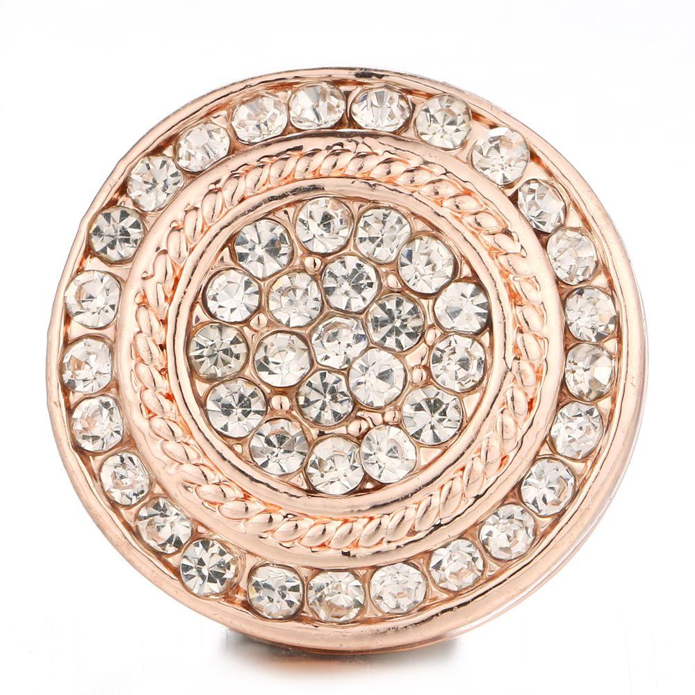 6 teile / los Neue Druckknopf Schmuck Rose Gold Runde Kristall Snap Charms 18mm / 20mm Ingwer DIY Button BraceletBangles