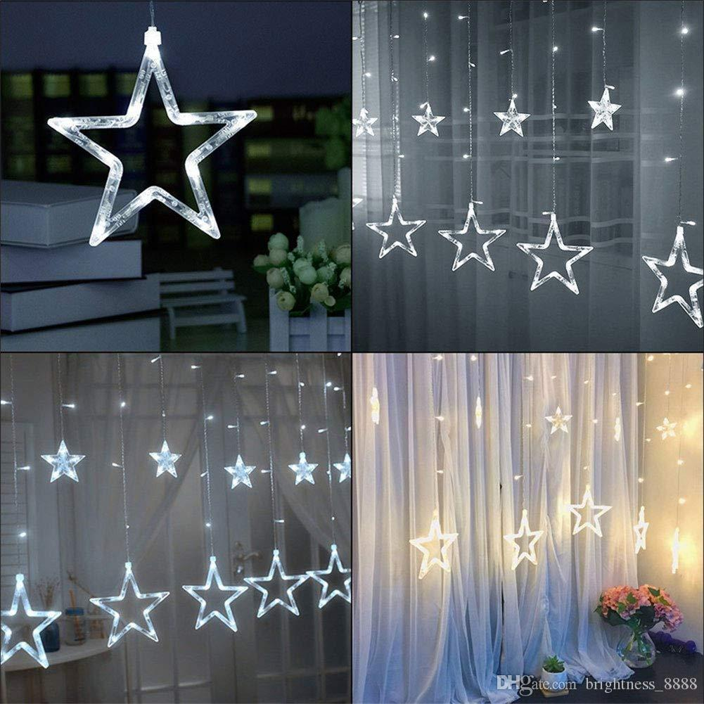 Curtain String Lights, 110V 220V String Star Lights 8.2ft 12 Stars 138 LED  Starry Fairy Lights For Wedding, Bedroom, Christmas, Party, Xmas Buy String  ...