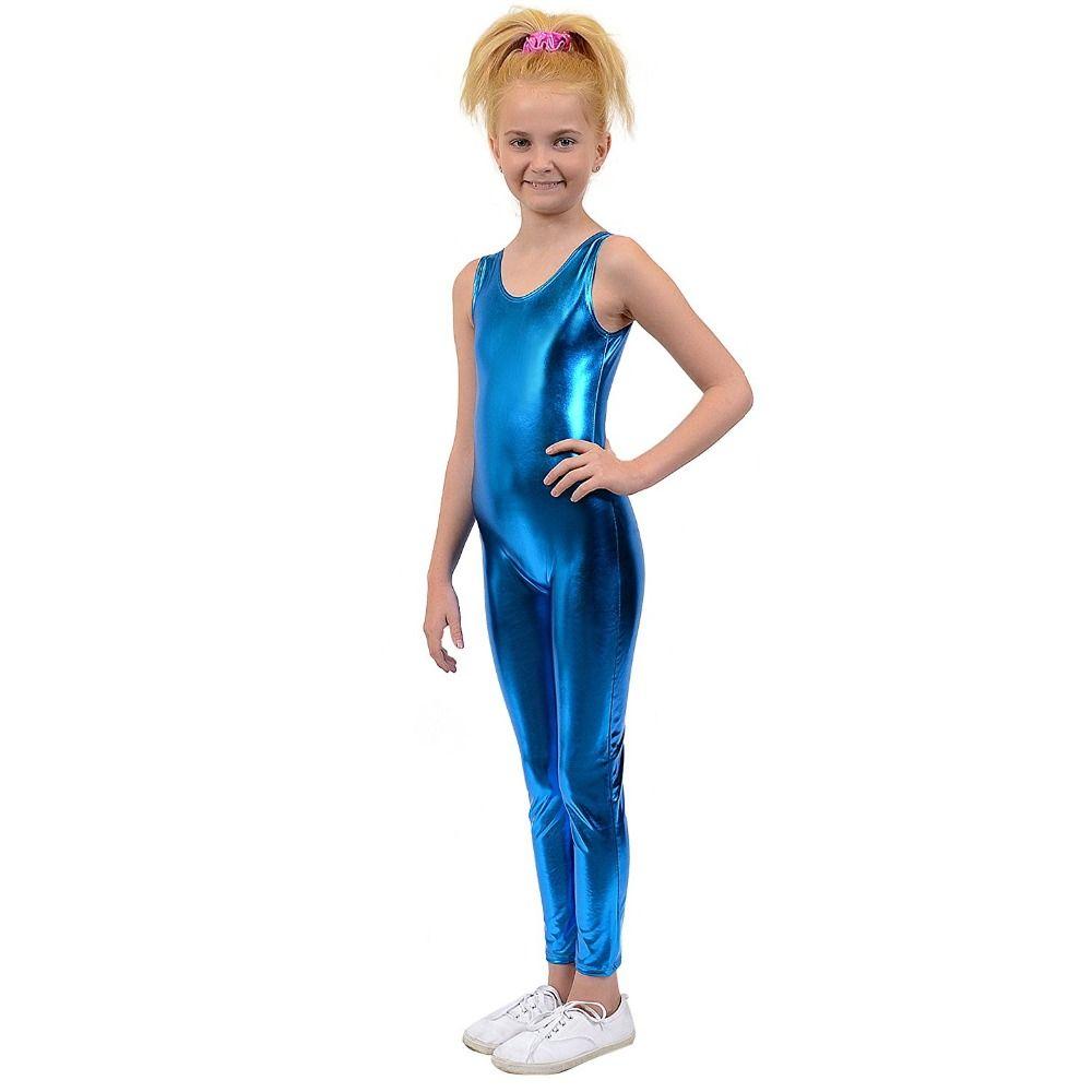 Kids One Piece Tank Unitard Girls Lycra Ballet Sleeveless Black Shiny Tight Jumpsuit Unitards Dance Boys Costumes Free Shipping