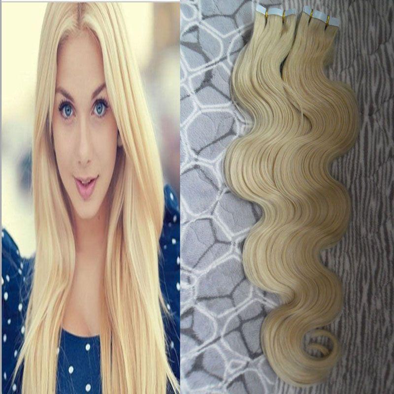 Onda do corpo 100% Remy Fita Adesiva de Cabelo em Extenisons 100g 40 pc 100% Real Remy Brasileira da Pele Do Cabelo Humano Trama Fita no cabelo