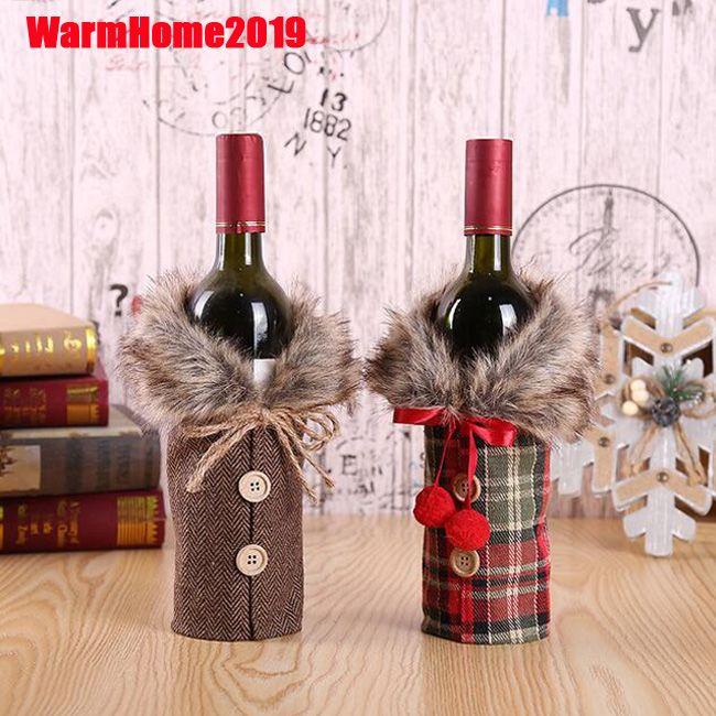 DHL decoración de la botella de vino 50pcs Santa Claus cubierta decoraciones de Navidad para el hogar 2019 del regalo de la Navidad de la media de Año Nuevo