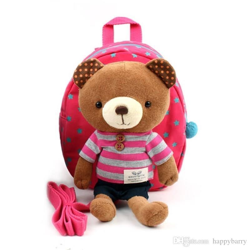 Bébé mignon enfants bébé sac à dos pour l'école ceinture de sécurité sac à dos dessin animé ours un an perdu bébé sac de harnais de sécurité