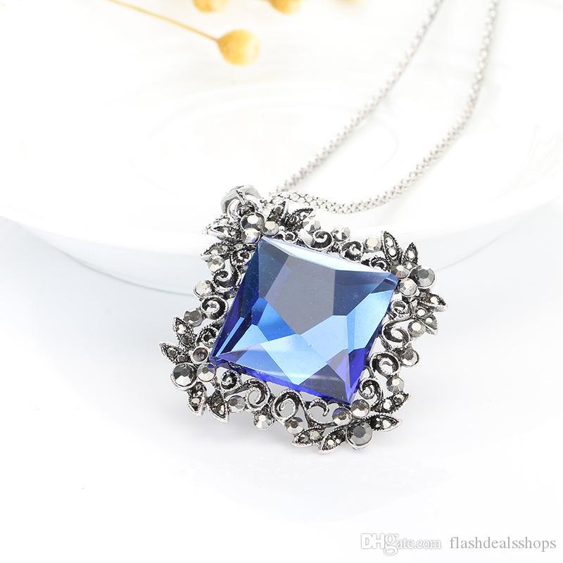 boho vintage antigo de prata esculpido flor feminina de cadeia longa camisola geométricos elegantes colares de cristal pingentes para as mulheres