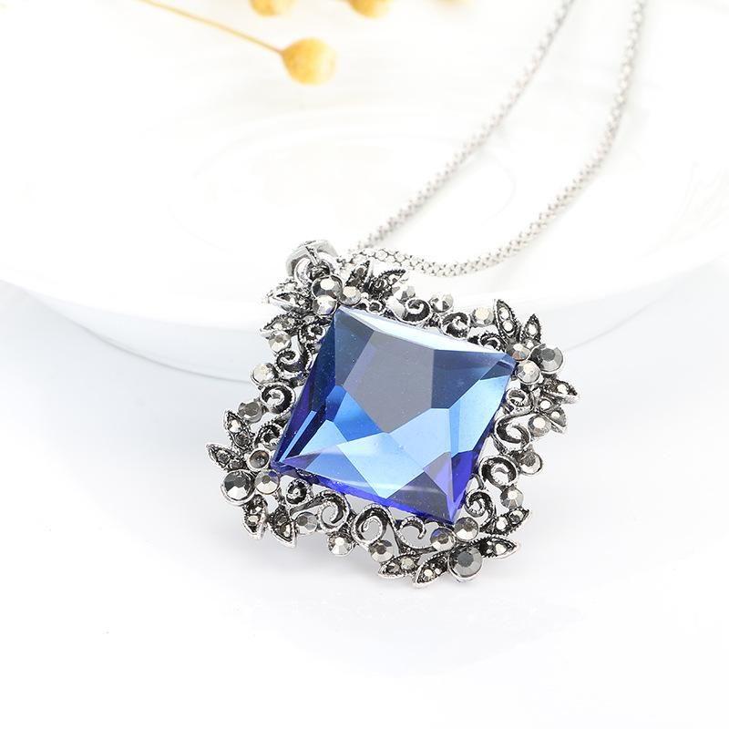 vintage boho antique silver carved flower female long sweater chain elegant geometric crystal necklaces & pendants for women