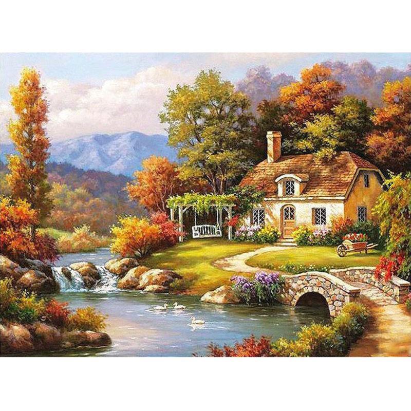 Pittura diy dai numeri di paesaggio di paesaggio naturale disegno su tela regalo di arte dipinta a mano Immagine casa kit decorazione per adulti