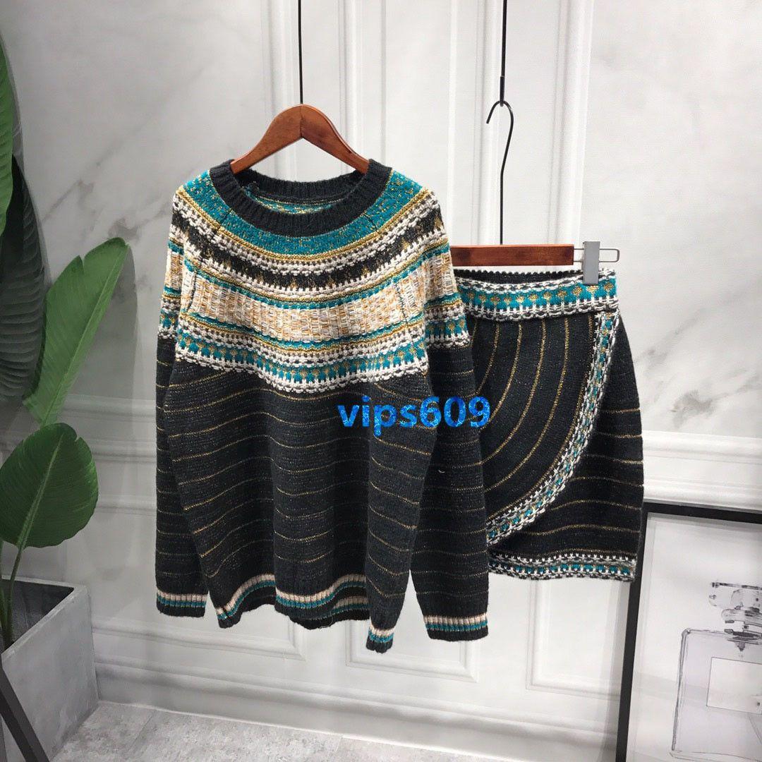 Haut de gamme femmes filles Ensemble de jupe en tricot Col rond à manches longues Pull rayé Tops à assortir et jupe en tricot Jupes courtes Ensembles