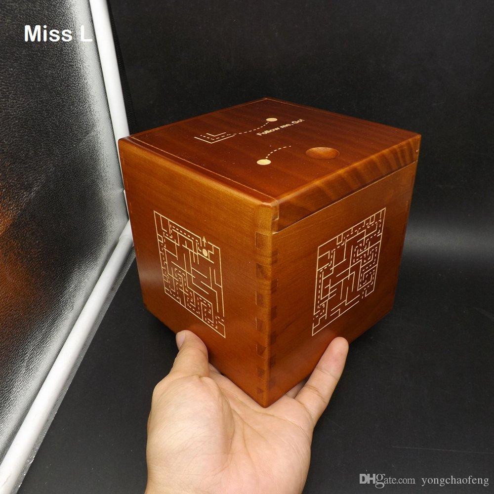 특별한 메커니즘 게임 브레인 티저 장난감과 갈색 색상 미로 패턴 13cm의 마법 상자 퍼즐