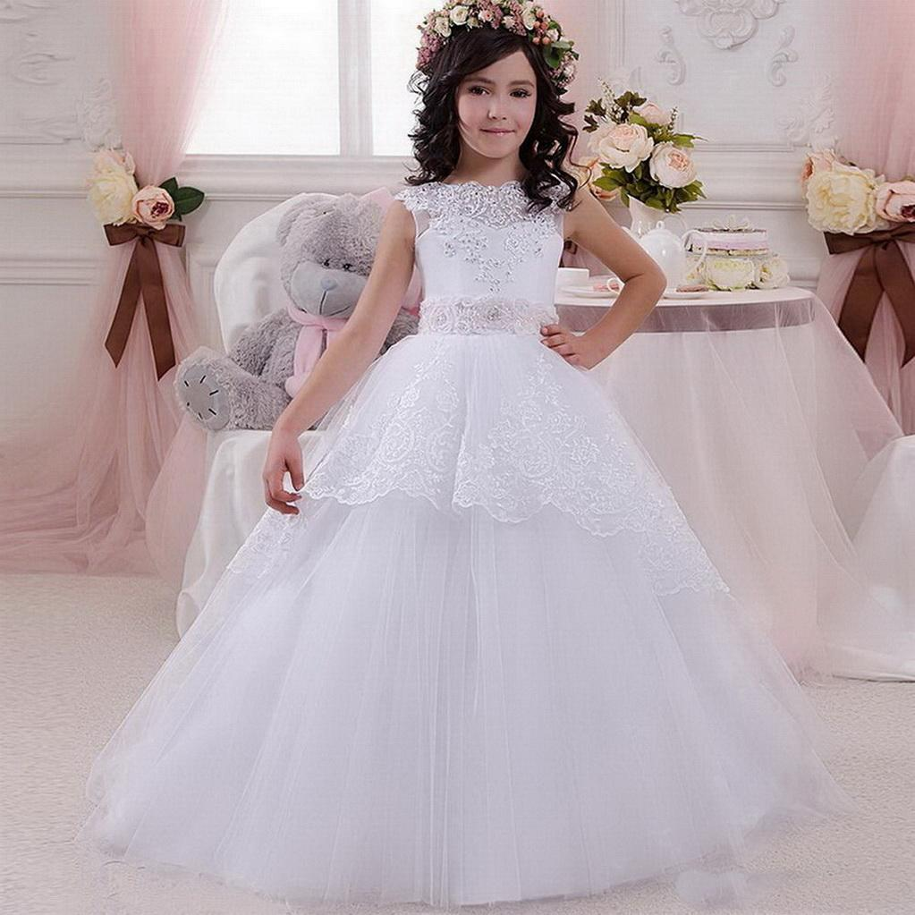 2020 Nouveau robes première communion pour les filles robe de bal solide Bow Sash manches O-cou cheville longueur fleur fille Pageant Robes