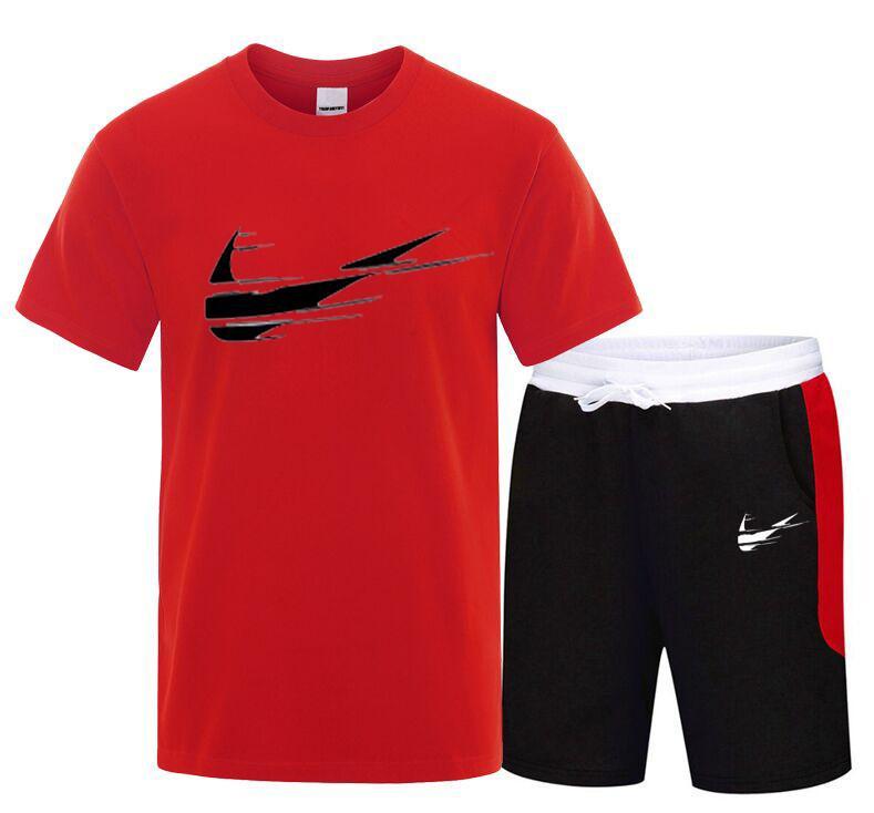 Été 2020 Hommes Ensemble Sport Casual Deux Pièces Costume À Manches Courtes mâle Streetwear Shorts Ensembles Survêtement homme court de sport blanc noir
