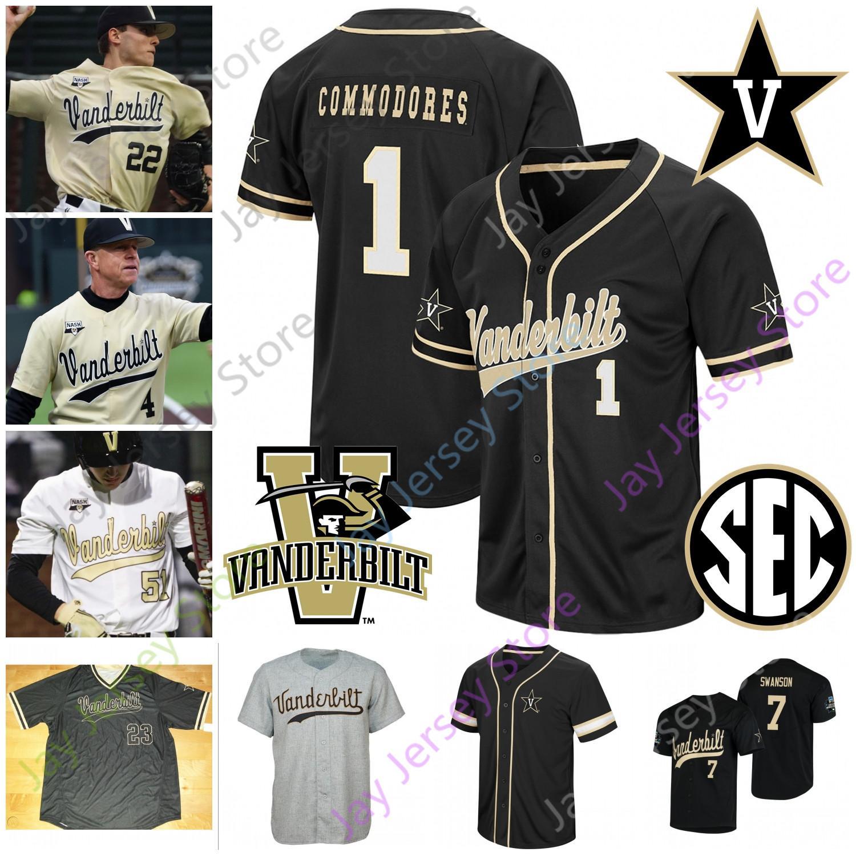 2019 NCAA Kolej Beyzbol WS Vanderbilt Commodores Jersey Tate Kolwyck Isaiah Thomas Patrick Ráby Kemp Gri Gonzalez DeMarco Genç Smith