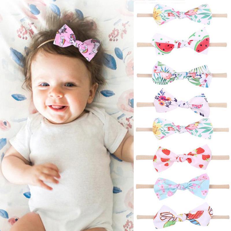 Baby Girls Cartoon Headband 3.5 Inch Printed Bows Nylon Hairdbands Baby Elastic Hair Band Boutique Hair Accessories 060521