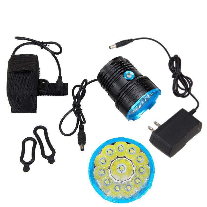 Neue 12 * T6 UV395 Ultra Violet LED-Fahrrad-Laterne Fahrrad-Scheinwerfer-Scheinwerfer-Lampen-Taschenlampen-Lichter mit Batterie farol Fahrradlicht