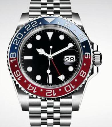 최고 2813 기계 40MM 자동 남성 손목 시계 회전 가능한 블루와 레드 베젤 시계 남성 시계 스테인레스 스틸 축제 팔찌 시계