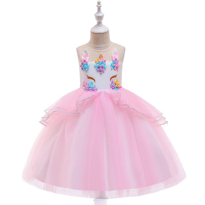 بنات يونيكورن الأميرة اللباس 20 الألوان أطفال بنات مطرز مطرز الكرة بثوب الاطفال عارضة ملابس الفتيات القوس التعادل شبكة توتو الرمز اللباس 06
