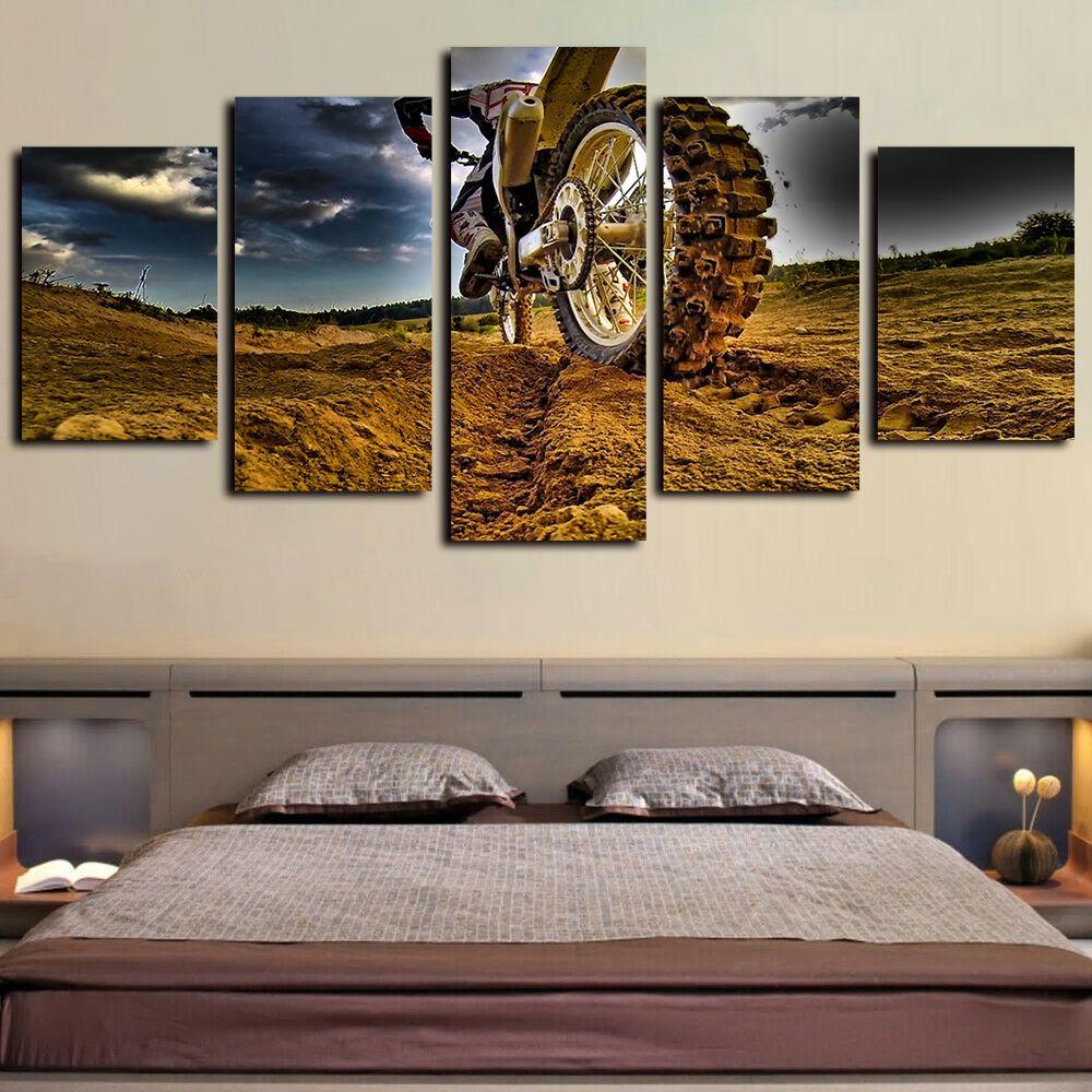 5 шт Мотокросс автомобили и плакаты Картина Картина Жикл Холст масло Картины для декора стена