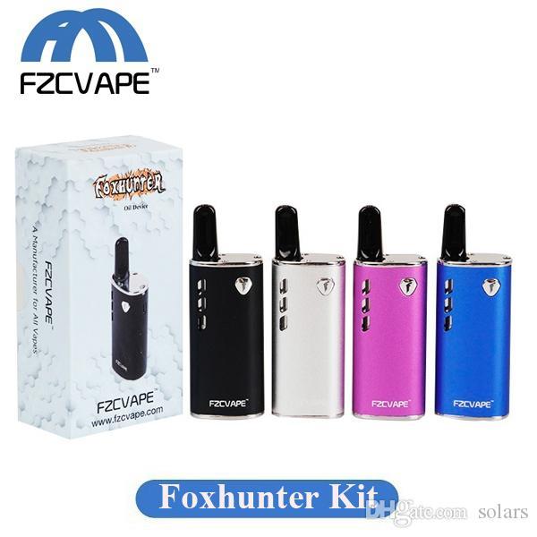 Authentique FZCVAPE Foxhunter Kit Vaporizer 650mAh Lipo Boîte Mod Préchauffez VV batterie avec 1,0ml céramique Cartouche Coil pour huile épaisse