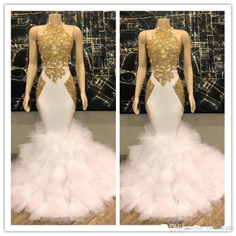 Herrliches Halter Gold und weiße Abendkleider Rüschen Tüll reale Abbildungen Nixe formale Cocktailparty-Kleider Abendkleider