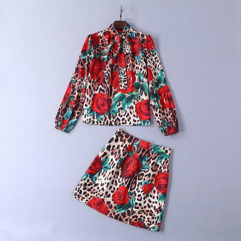 326 2019 Spring Crew Neck Prom Dresses Brand Two Piece Dresses Above Knee Regular Celebrity Style Print Shirt + Dresses SH