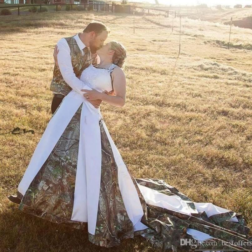 New Halter Neck Western Country 2020 Camo robes de mariée Plus Size Une ligne de camouflage Robes de mariée Custom Made robe de mariée robe de Noiva
