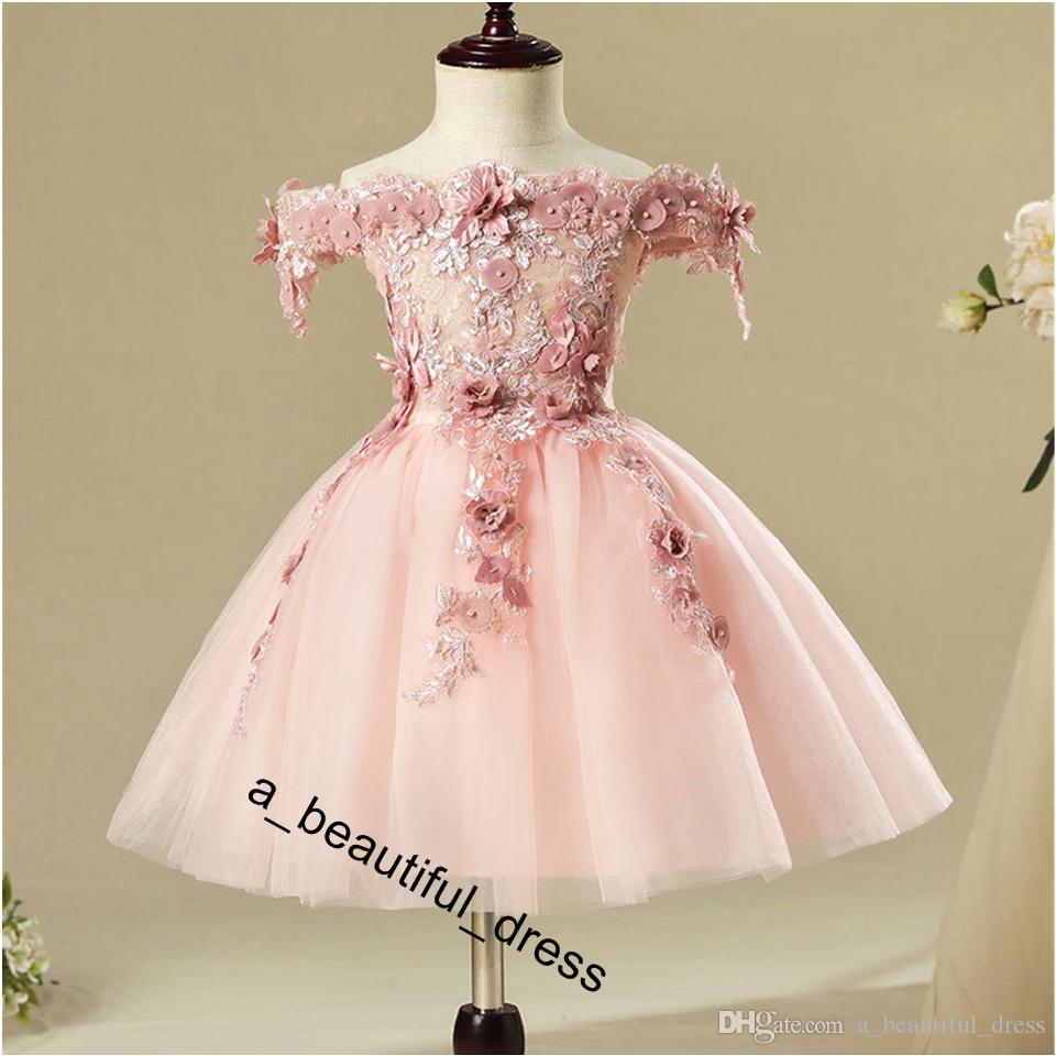 Pink Bead Decoration Long Flower Girl Dress New Girl Ball Gown pageant Wedding Party Exchange Dress Ball Beauty Sexy Shoulder Dress FG1269