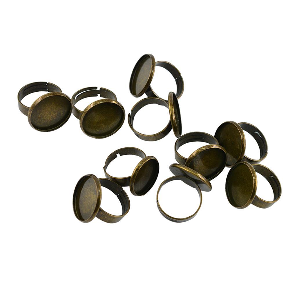 10 قطعة 18mm وحزام قابل للتعديل فارغة الحافة الداخلية وضع صينية قاعدة لالنقش كبوشن اللؤلؤ قطع أثرية من البرونز النتائج مجوهرات الدائري