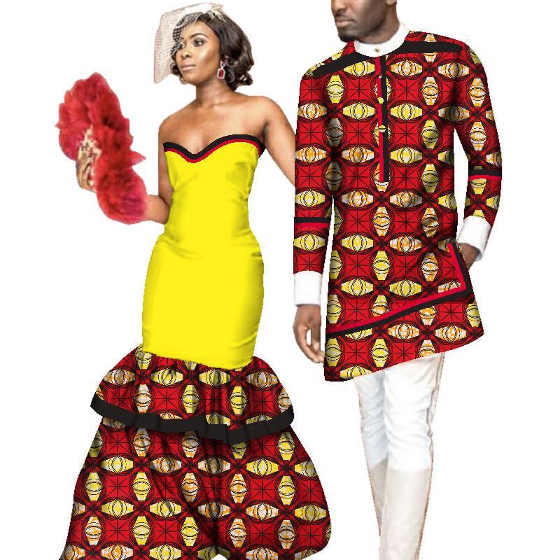Yeni Çiftler Düğün Kadınlar için Afrika Giyim Seksi Backless Kolsuz Ince Elbiseler Parti Elbise Erkekler Uzun Gömlek Kıyafeti WYQ159