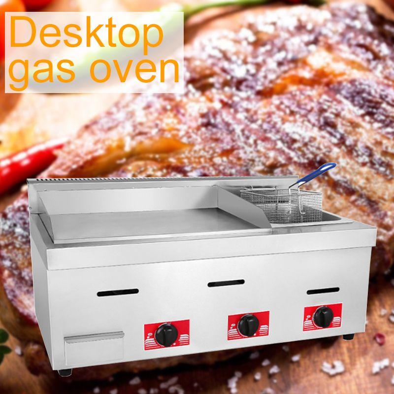 gaz en acier inoxydable four plaque de fer teppanyaki bureau commercial tofu calmars gâteau cuit au four machine à nouilles froid