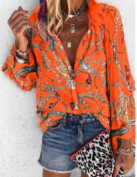 Блузки С Рукавами Повседневные Однобортные Женские Топы Дизайнерские Цепи Печатные Женские Рубашки Мода Плюс Размер Длинные