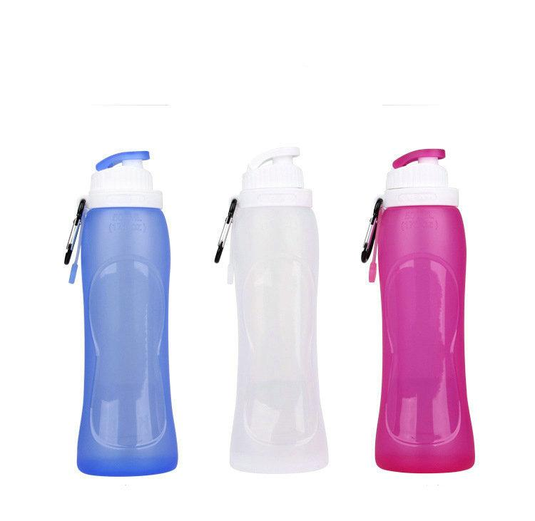 Safe personalised drink bottles Gift Bottle 500ml Collapsible Folding Cup Pot sillicone pp bottle for school GYM white blue red grey