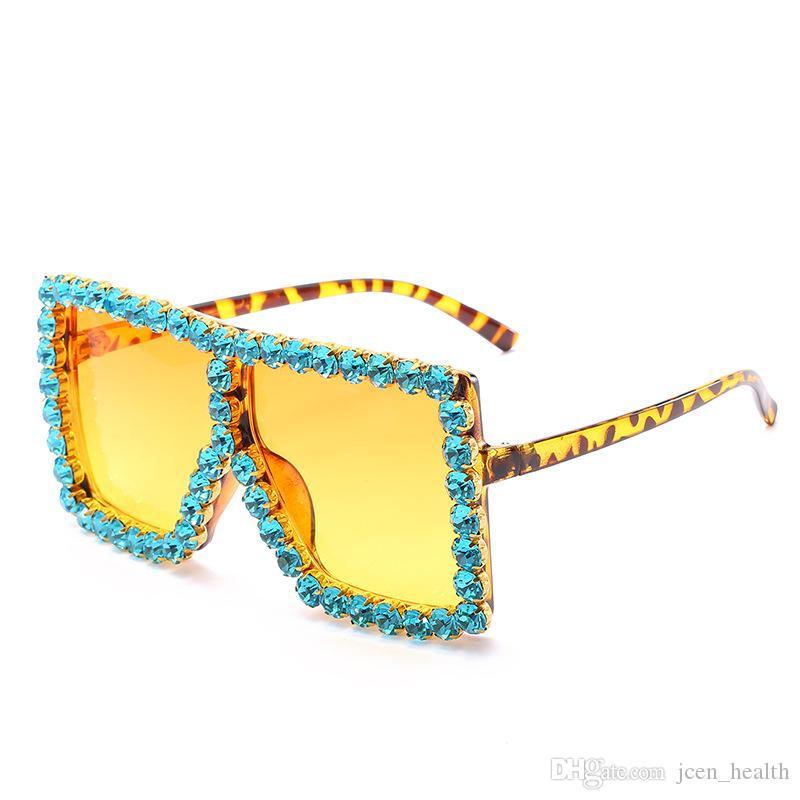 2020 레트로 럭셔리 선글라스 다이아몬드 반짝 반짝 빛나는 태양 안경 여성용 사각형 특대 프레임 외곽선 선글라스 UV400 보호 안경