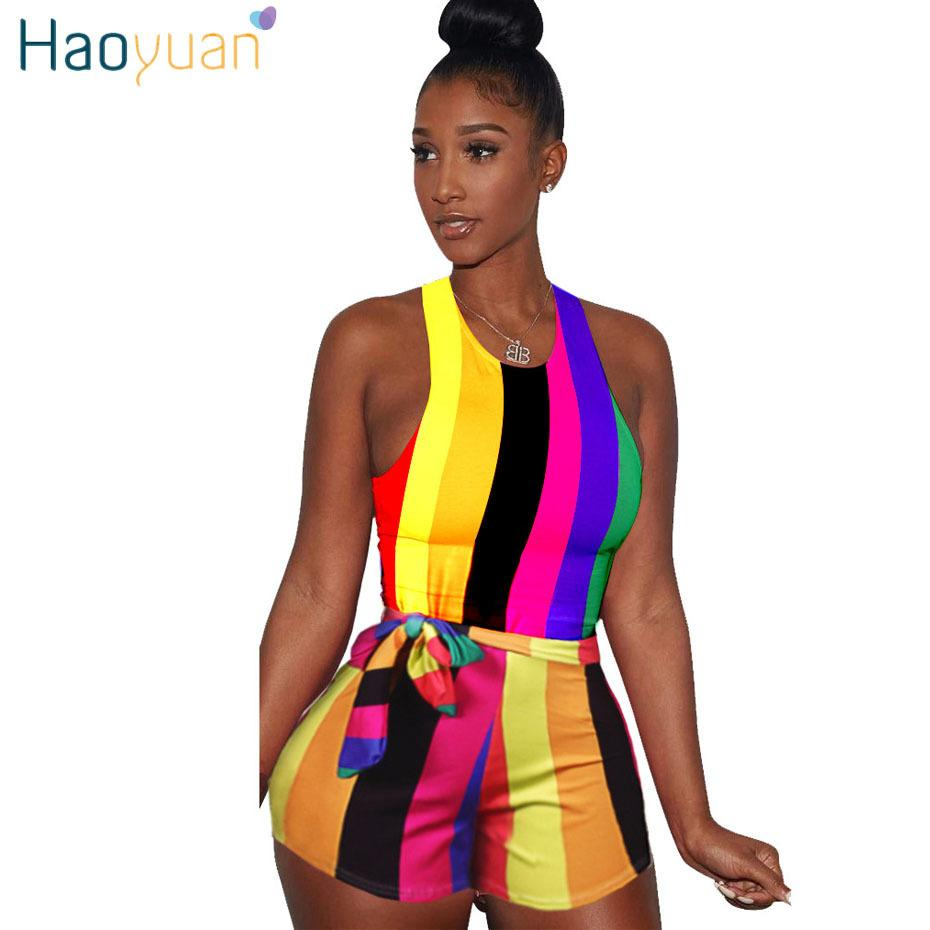 Haoyuan Sexy Striped Playsuit With Sashes 2018 Summer Overalls Club Bodycon Bodysuit One Piece Shorts Rompers Womens Jumpsuit Y19071801