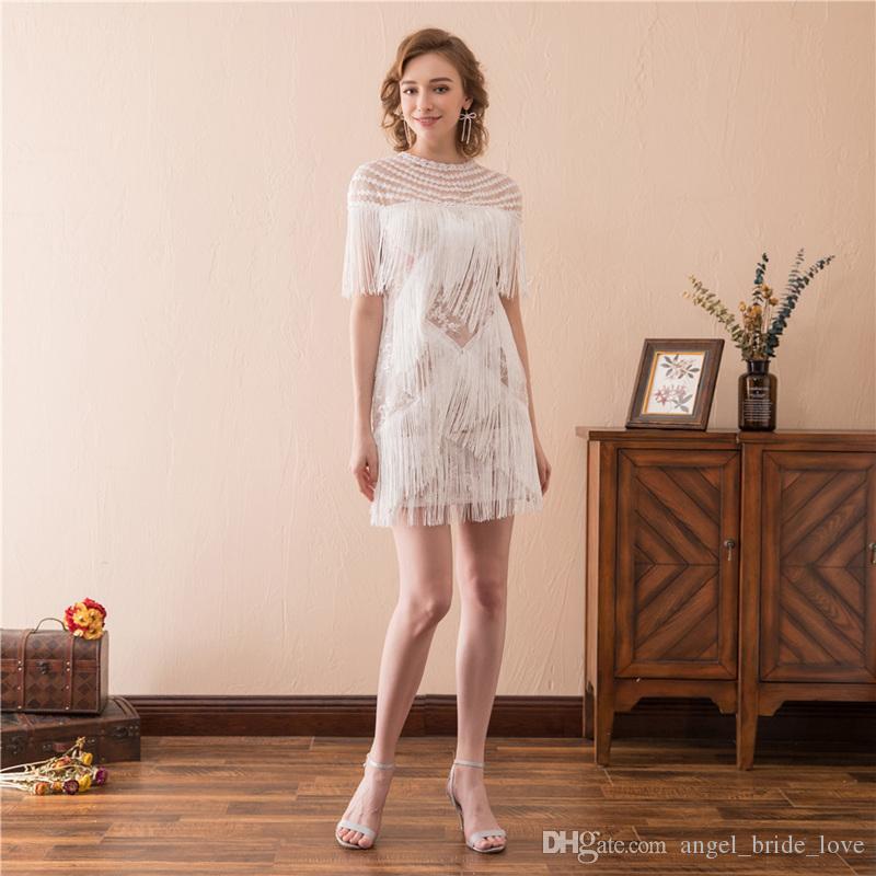 2019 Yeni Seksi Dantel Püskül Beyaz Mini Abiye Ile Artı Boyutu Balo Elbise Örgün Parti Kıyafeti Robe De Soiree AL57