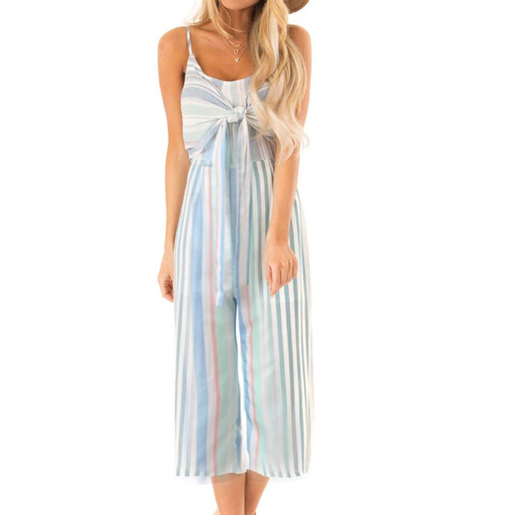 Women's Jumpsuits & Rompers Women Jumpsuit 2021 Summer Strapless Off-Shoulder Fashion Sexy Overall Loose Striped Long Playsuit