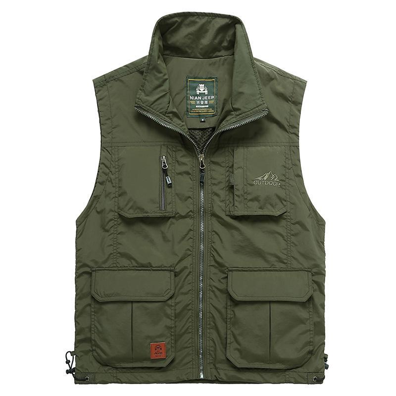 Hommes Zipper Multi Pocket Vest Printemps Été Casual Lâche Gilet Homme Plus La Taille Vente Chaude Photographe Sans Manches Veste WFY04