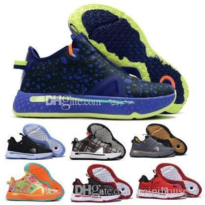 새로운 PG는 4 개 격자 무늬 폴 조지 확대 농구 신발 패션 2020 새로운 어린이 트레이너 체육 스포츠 교육 지퍼 스니커즈 신발을 실행