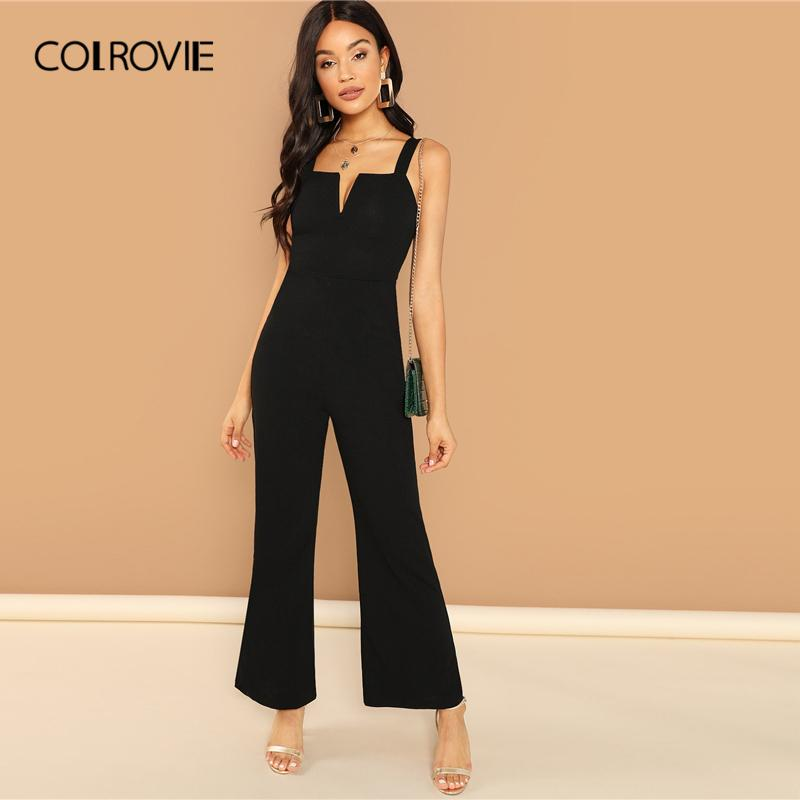 COLROVIE Burgundy Solid V Notch Flare Leg Long Party Jumpsuit Rompers Women Clothes Black Elegant Sleeveless Sexy Jumpsuits Y200106