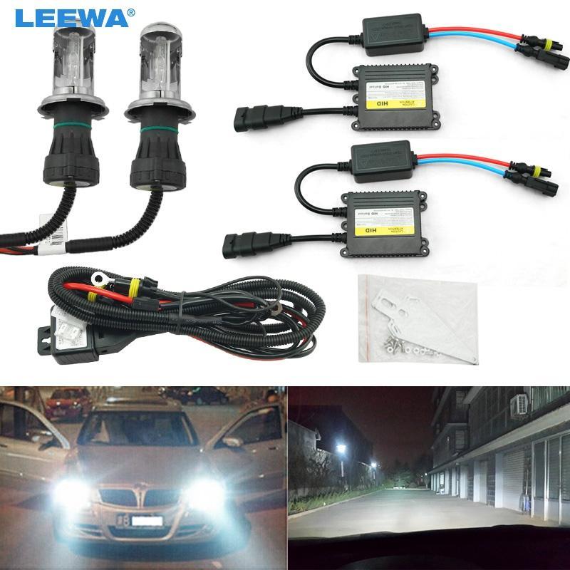Leewa 1set 35W AC linterna del coche H4 HID Xenon Hi / Lo Beam Bi-Xenon Bombilla Digital Slim lastre HID Kit # CA4482
