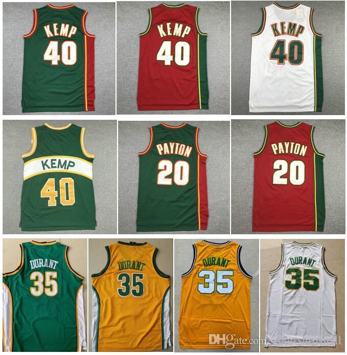Toptan Nakış Spor 20 Eldiven Gary Payton Beyaz Kırmızı 40 Reign Man Shawn Kemp 34 Ray Allen, Kevin 35 Durant Jersey dikişli giymek