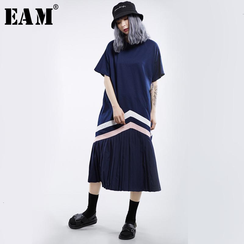 [EAM] женщины синий полосатый плиссированные темперамент длинное платье новый круглый вырез с длинным рукавом свободный покрой мода весна осень 2019 1H719