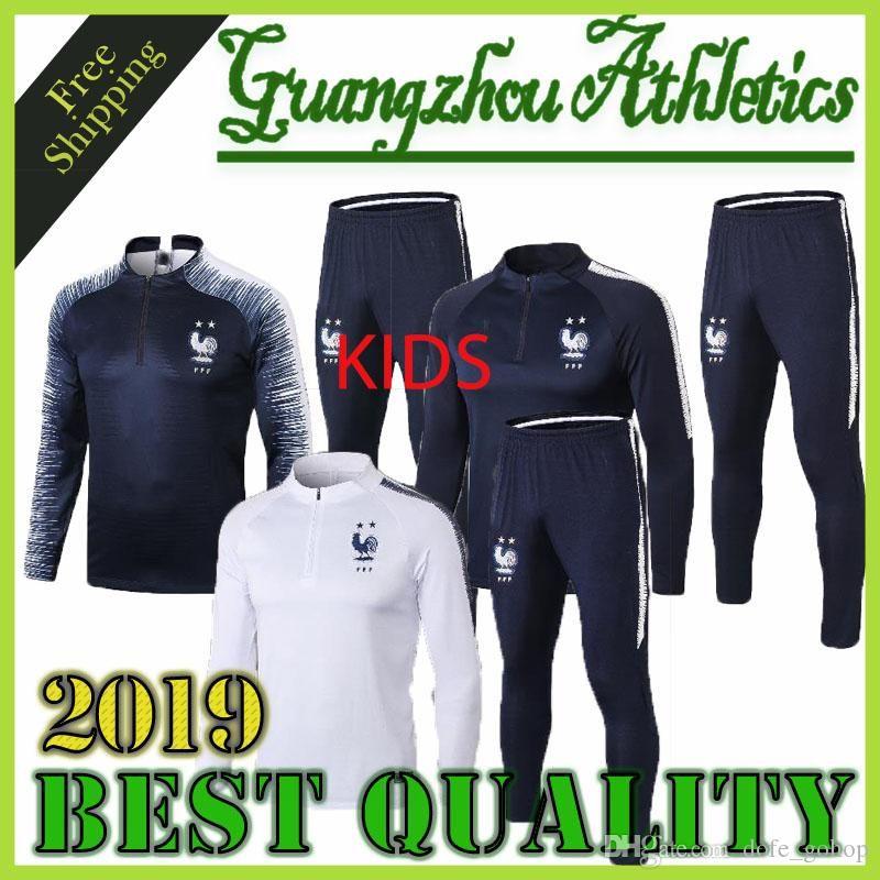 Mejor calidad 2018-2019 niños de 2 estrellas Survêtement equipe Trajes MAILLOT DE PIE Francia Survêtement entrenamiento de fútbol chándales