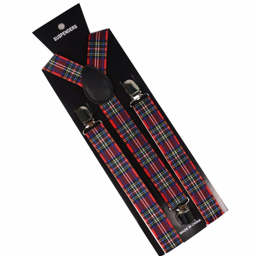 2019 New Fashion Mens Women Adjustable Suspenders Red Plaids Clips On Y-Back Braces Elastic