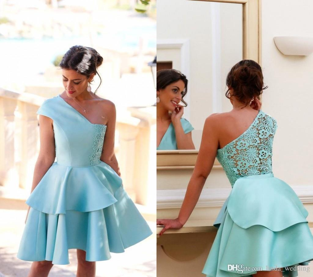2019 Elegant One Shoulder Short Homecoming Dress A Line Lace Layers Juniors Sweet 15 Graduation Cocktail Party Dress Plus Size Custom Made