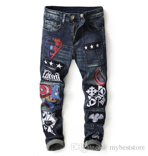 2019 new arrival!Foreign trade new wear broken embroidery badge men's stitching Slim small straight jeans men
