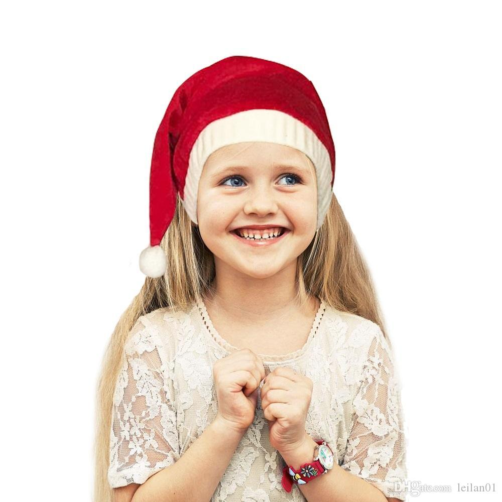 Good quality red Velvet Christmas Hat for Adult and Children Brand new 100% Cotton Santa Claus Hats Caps soft comfortable warm Xmas Hat