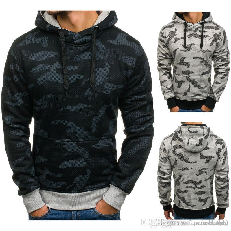 New Mens Camouflage Casual Hoodies Spring Hooded All Match Grey Black Sweatshirts Long Sleeved Tops